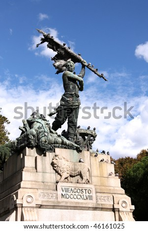 Realism style statue by Pasquale Rizzoli. Monument commemorating expulsion of Austrians from Bologna, Italy. Memorial covered in pigeons.