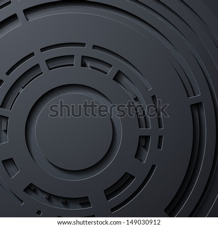 realistic abstract background, layers of metal and flat surfaces, the circular form - stock photo