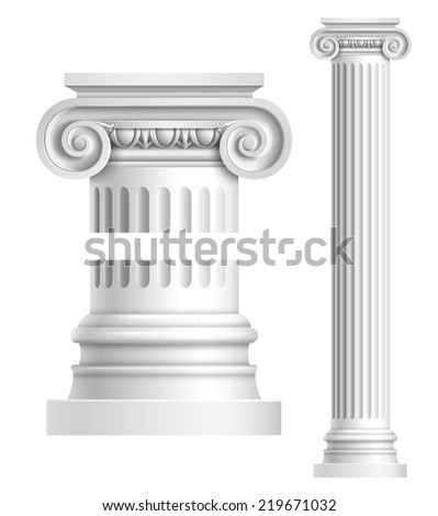 Realistic antique ionic column isolated on white background  illustration - stock photo
