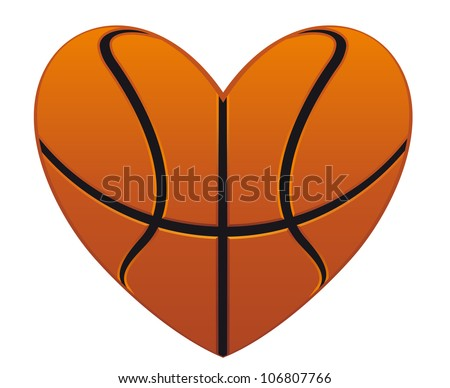 Realistic basketball heart isolated on white background for sports design, such logo. Vector version also available in gallery - stock photo