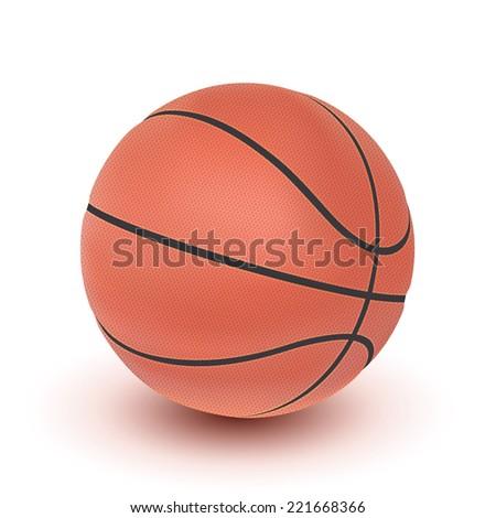 Realistic basketball icon isolated on white background - stock photo