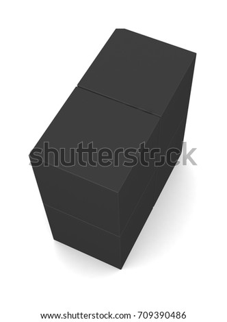 Realistic black blank boxes isolated on white background. 3d illustration