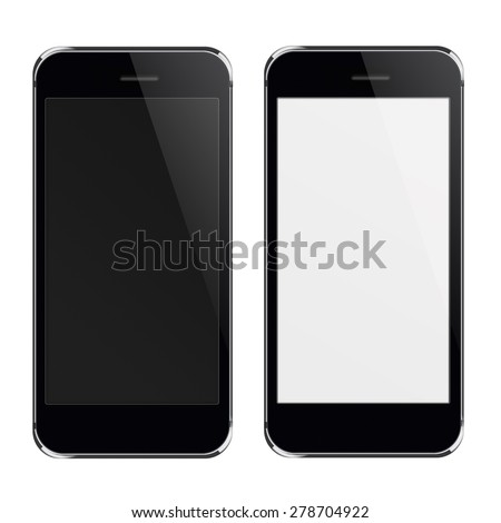 Realistic black mobile phones iphon style mockup with black and blank screen isolated on white background. Highly detailed illustration.