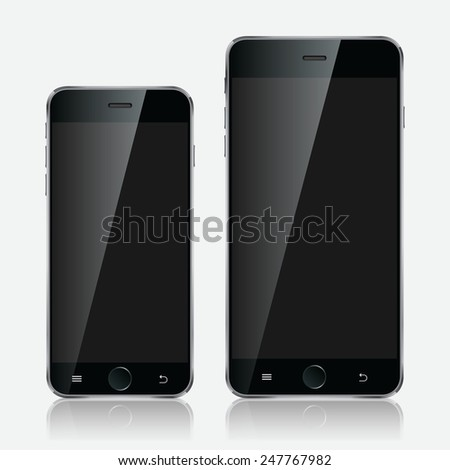 Realistic black mobiles phones set with blank screen isolated on white background. Modern concept smartphone devices with digital display. - stock photo