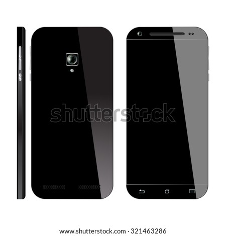 Realistic black Smartphone isolated on white background. Mobile phone Front, Back and Side view. Smart phone Mockup design.