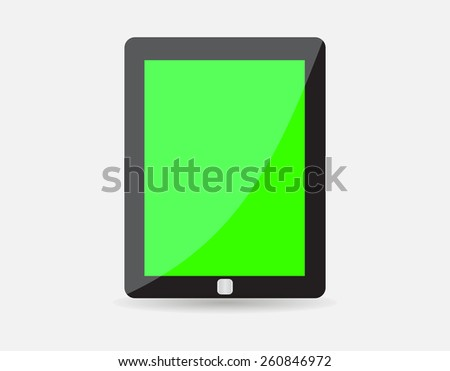 Realistic black tablet with green blank screen isolated on white background. illustration  - stock photo