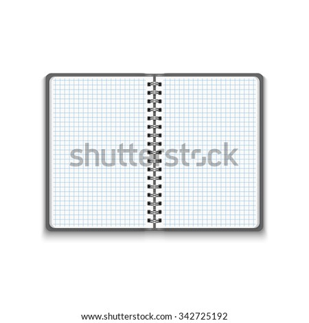 Realistic Blank Open Notebook Isolated on White Background. Spiral Notepad, Mock Up