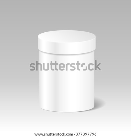 Realistic Blank White Product Package Box Mock Up To Advertise Goods. Cylindrical Container With Lid. Packaging Template - stock photo