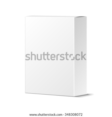 Realistic Blank White Product Package Box Mockup. Container, Packaging Template - stock photo