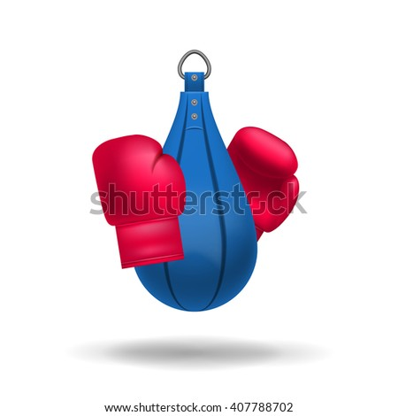 Realistic boxing gloves and punching bag.  Fight boxer isolated equipment: punching bag and boxing gloves. Boxing vector, Boxing art,Boxing eps,Boxing logo,Boxing vector illustration, Boxing realistic - stock photo