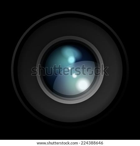 Realistic Camera Lens - stock photo