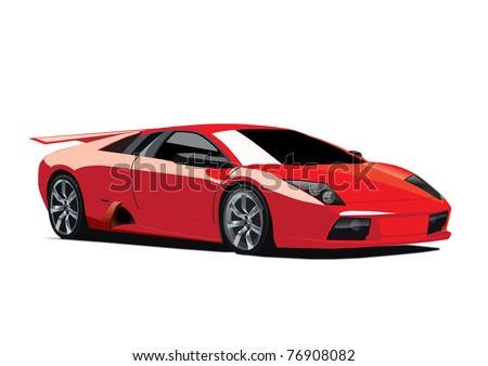 Realistic car vector illustration - stock photo