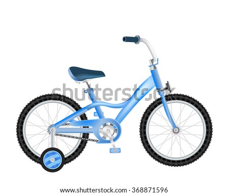 realistic children bicycle with basket on white. raster version