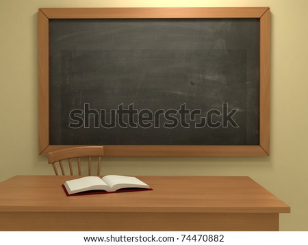 Realistic classroom with empty blackboard. 3d illustration. - stock photo