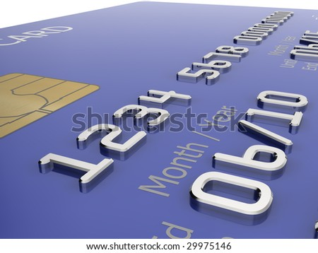 Realistic close-up illustration of a blue credit card with fictional details. - stock photo