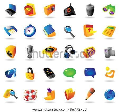 Realistic colorful icons set for computer and website interface on white background. Raster version. Vector version is also available. - stock photo