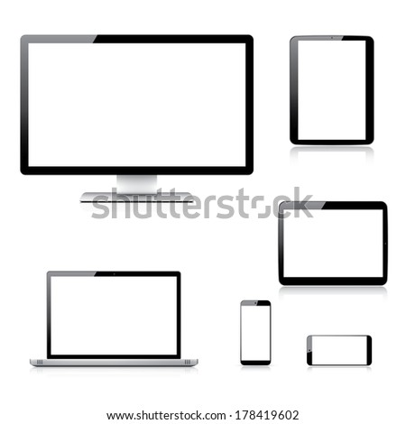 Realistic computer, laptop, tablet and smartphone illustrations. - stock photo