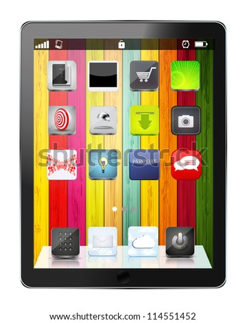 realistic computer tablet with app icon on colorful wooden background. - stock photo