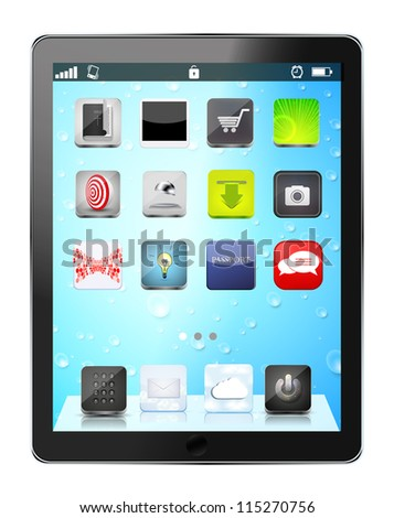 realistic computer tablet with app icon on drop background - stock photo