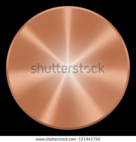 Realistic copper button. Isolated - stock photo