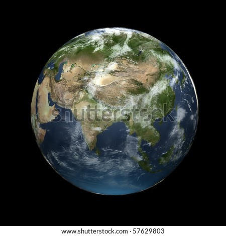 Realistic 3D Earth globe with atmosphere facing Asia - stock photo