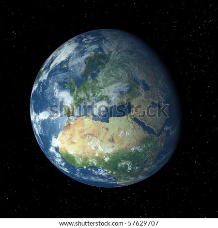 Realistic 3D Earth globe with atmosphere facing Europe - stock photo