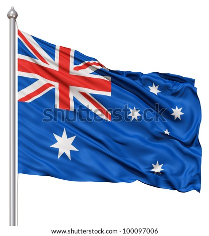 Realistic 3d flag of Australia fluttering in the wind. - stock photo