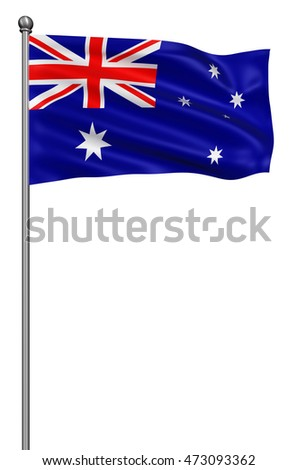 Realistic 3d flag of Australia fluttering in the wind,3d illustration