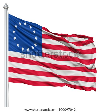Realistic 3d flag of Betsy Ross fluttering in the wind. - stock photo