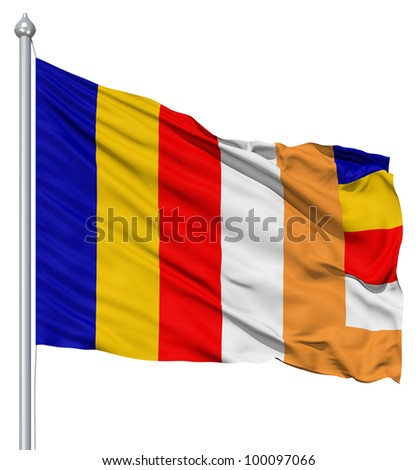 Realistic 3d flag of Buddhist fluttering in the wind. - stock photo