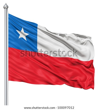 Realistic 3d flag of Chile fluttering in the wind. - stock photo