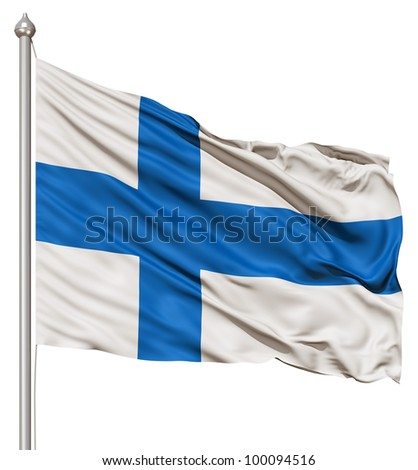 Realistic 3d flag of Finland fluttering in the wind. - stock photo