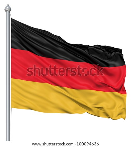 Realistic 3d flag of Germany fluttering in the wind.