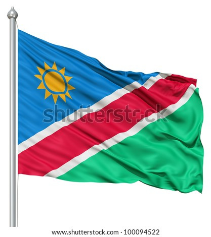 Realistic 3d flag of Namibia fluttering in the wind. - stock photo