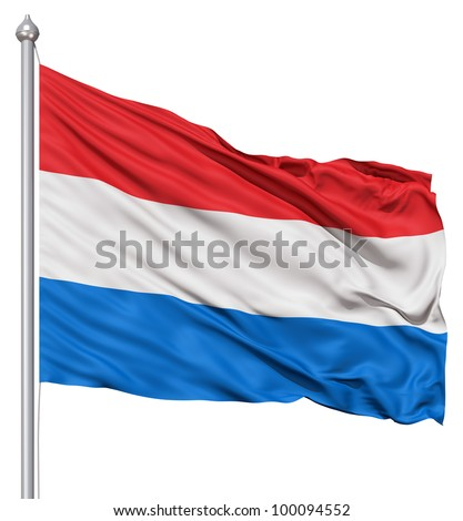 Realistic 3d flag of Netherlands fluttering in the wind. - stock photo