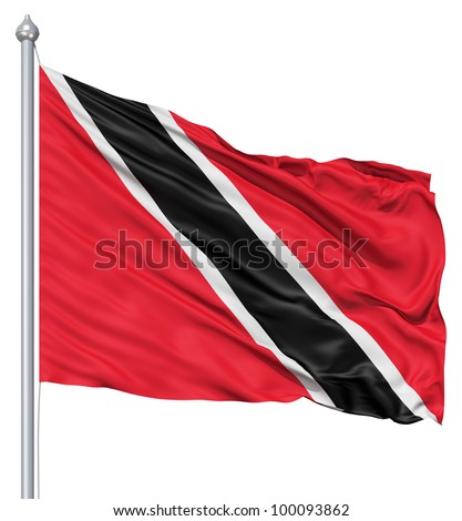 Realistic 3d flag of Trinidad and Tobago fluttering in the wind. - stock photo