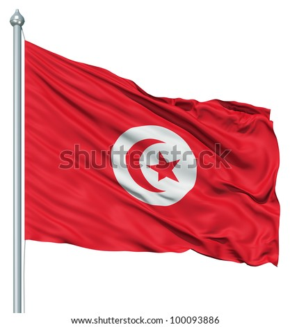 Realistic 3d flag of Tunisia fluttering in the wind. - stock photo