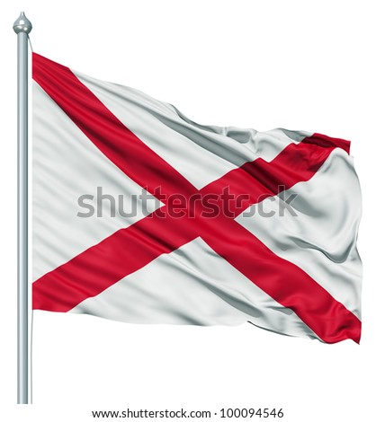 Realistic 3d flag of United States of America Alabama fluttering in the wind. - stock photo