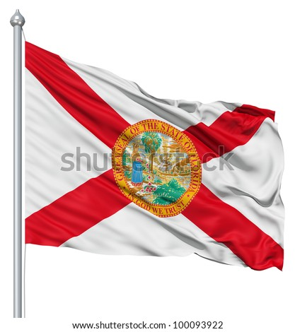 Realistic 3d flag of United States of America Florida fluttering in the wind. - stock photo