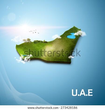 Realistic 3D Map of United Arab Emirates - stock photo