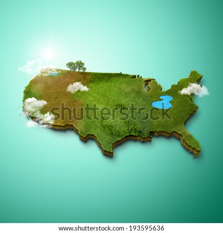 Realistic 3 D Map of United States of America  - stock photo