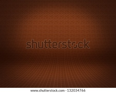 Realistic 3D presentation floor surface with brick background te - stock photo