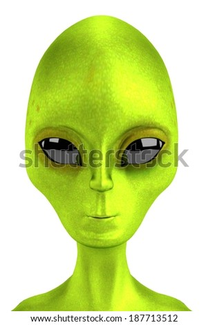 realistic 3d render of alien - stock photo