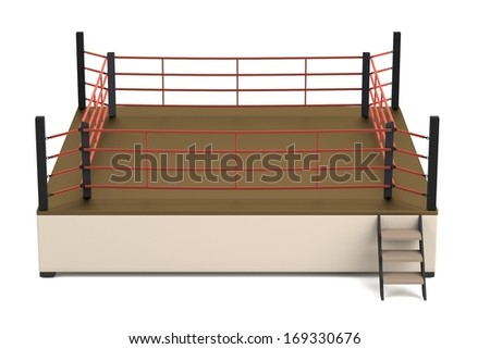 realistic 3d render of boxing ring - stock photo