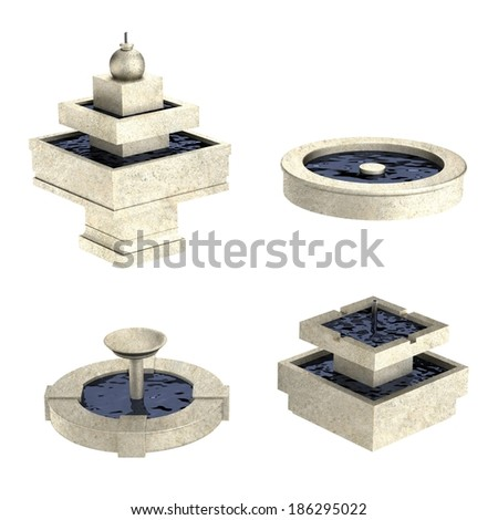 realistic 3d render of fountains - stock photo