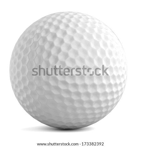 realistic 3d render of golf ball - stock photo