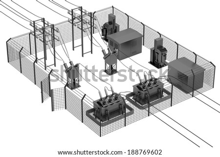 realistic 3d render of substation  - stock photo