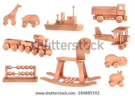 realistic 3d render of wooden toys - stock photo