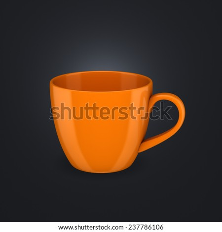 Realistic 3d rendered cup isolated on black background. - stock photo