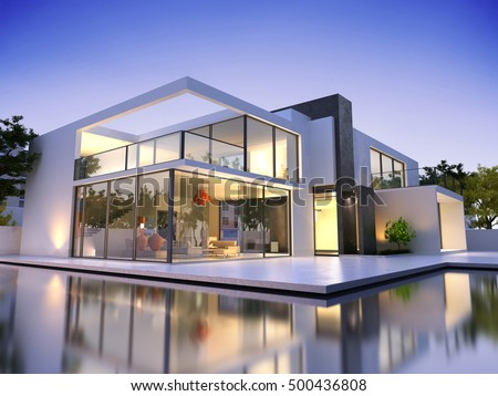 Realistic 3d rendering very modern upscale stock for 3d pool design online free
